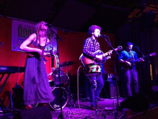 Blurry, but let's pretend it's artsy. Kate and Justin Miner get down. Brother on the right has a mic-drop worthy mustache. (Ellen Huet/Treeswingers)